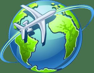 Un aereo che gira attorno al globo terrestre