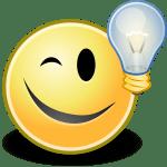 Smile che ammicca e una lampadina accanto