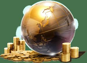 Mondo circondato da monete