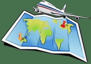 Aereo in volo con una cartina geografica sotto